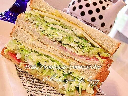 キャベツたっぷりスライスチーズde☆サンドイッチ