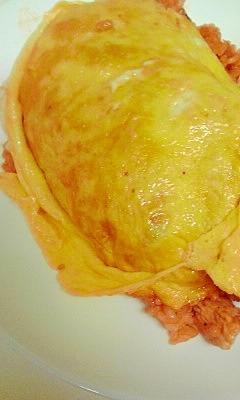 鶏肉、ピーマン、玉ねぎでオムライス