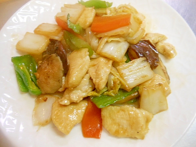 野菜ときのこ、鶏むね肉のオイスターソース炒め
