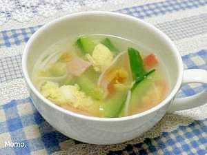きゅうりとハムの中華玉子スープ