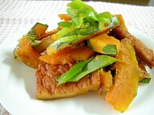 びっくり☆かぼちゃとさつま揚げの麺つゆカレー炒め☆