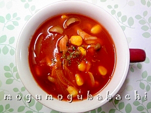 栄養たっぷり♪トマトが濃いきのこスープ