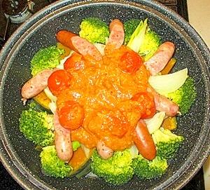 蒸し野菜にピリ辛柚子味噌鍋