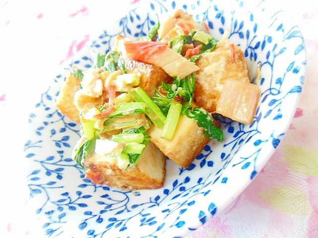 厚揚げとカニかまと小松菜のマヨわさ醤油炒め