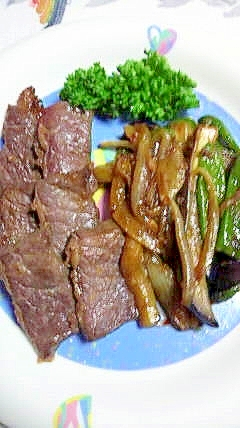 にんにく、こってり!牛バラ肉と野菜の炒め物