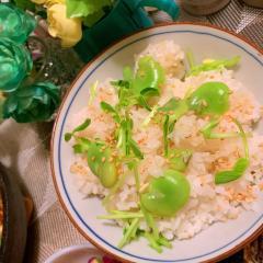 空豆と豆苗の昆布茶飯