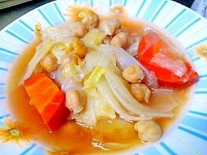 ひよこ豆とキャベツのスープ