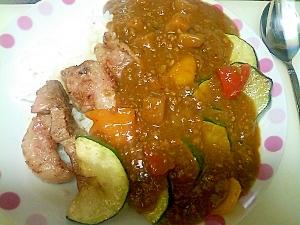 夏野菜と豚ステーキ肉カレー