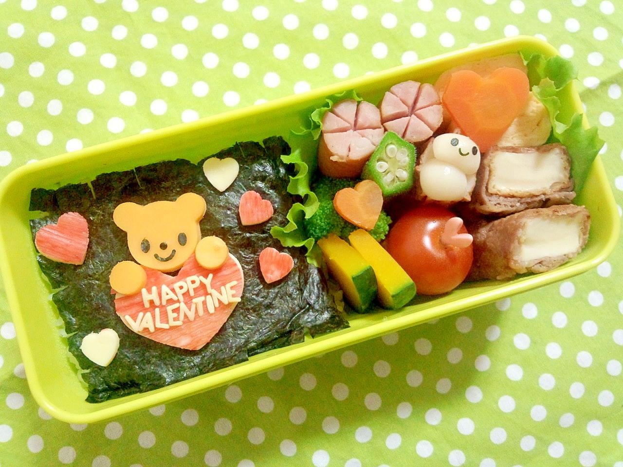 簡単キャラ弁☆くまちゃんのバレンタイン弁当♪