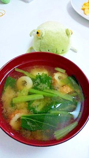 緑の野菜★小松菜とちくわの味噌汁