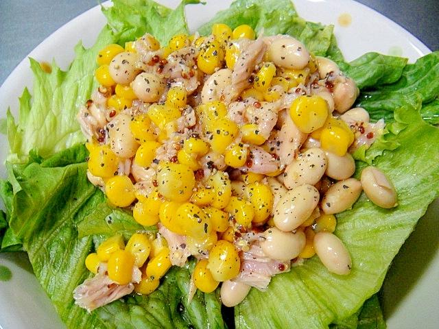 大豆とツナ、コーンのサラダ