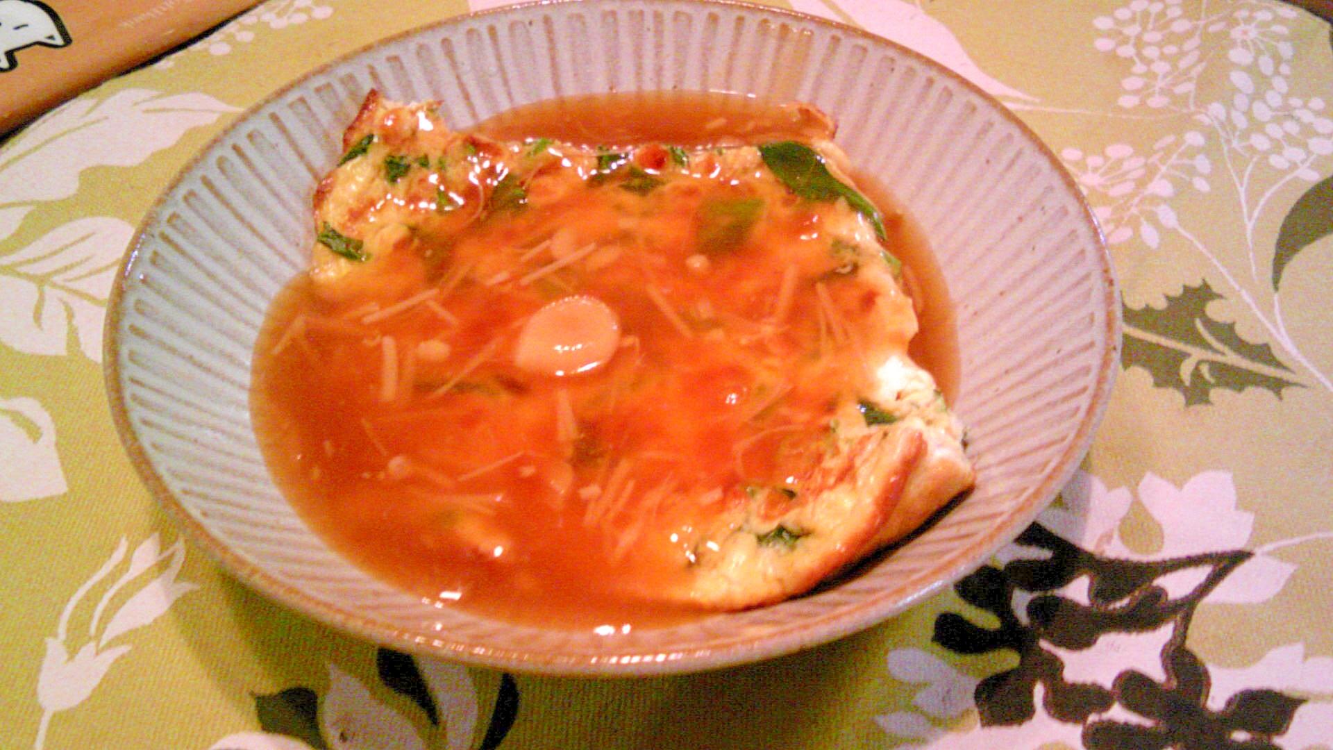 豆腐入り卵焼き、生姜風味あんかけ