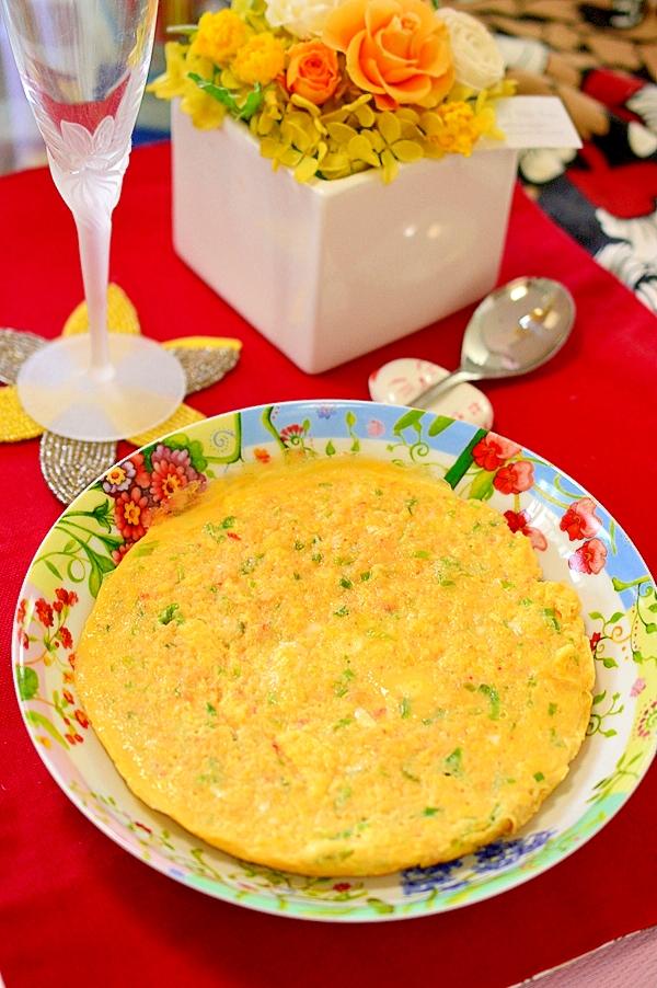 蟹缶で出汁じゅわ~♪蟹と青ねぎの卵焼き