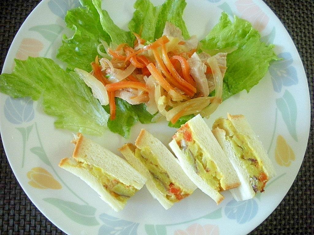残ったマグロでシーチキン風&さつま芋サンドワンプレ