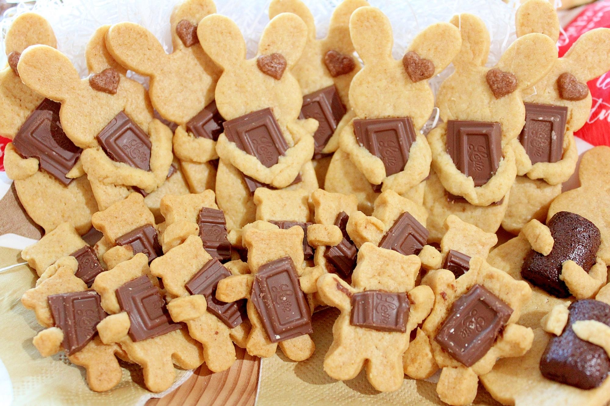 6. クマとうさぎの板チョコクッキー