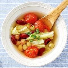 ミックスビーンズとキャベツのトマト酢ープ