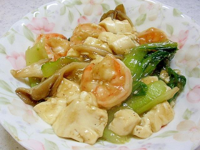 海老と豆腐の中華風炒め