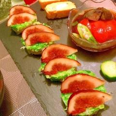 無花果と豚しゃぶのセルクルサラダ