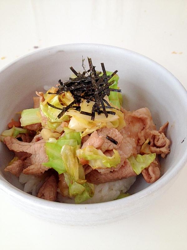 豚とキャベツの紅生姜炒め丼