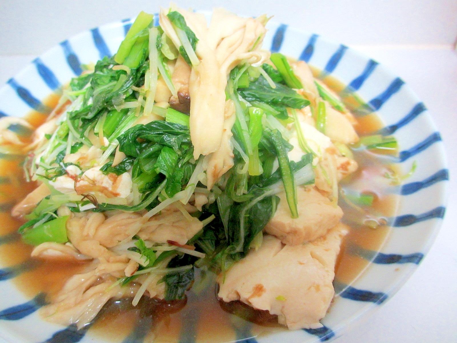 青菜ときのこと豆腐の炒め煮