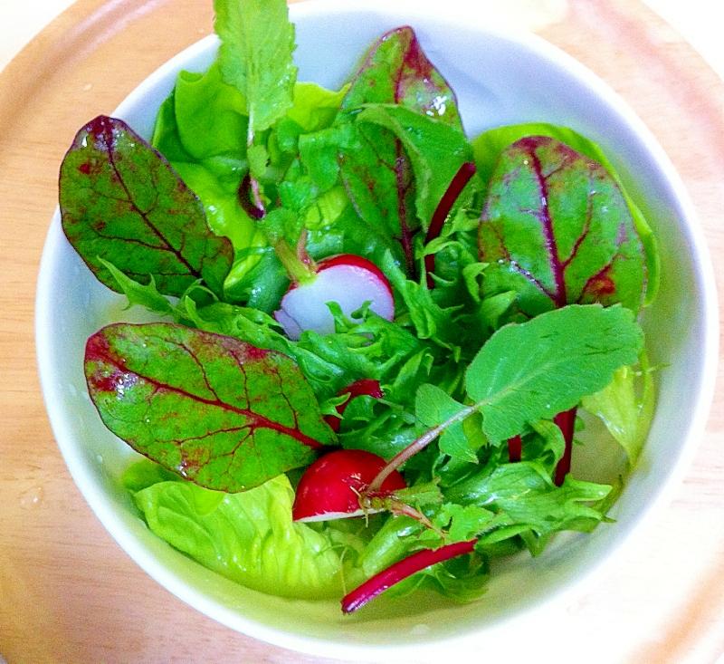 五種類のリーフ野菜のサラダ