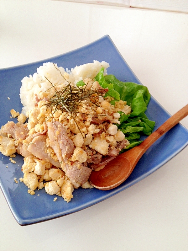 豚バラ肉とおからのスタミナ丼