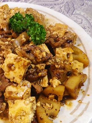 豚レンコン豆腐の豆鼓炒め