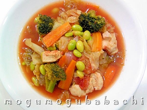 野菜たっぷり♪トマトチキンスープ