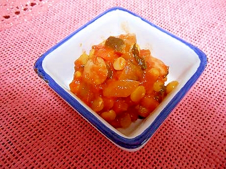 レンズ豆とたくさん野菜のトマト煮