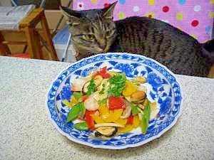 ムール貝とパンチェッタの海鮮野菜炒め