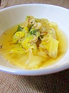 カルシウムたっぷり、素干しえびと白菜のスープ