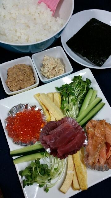 本日の夕食◇大人も子供も大好き手巻き寿司