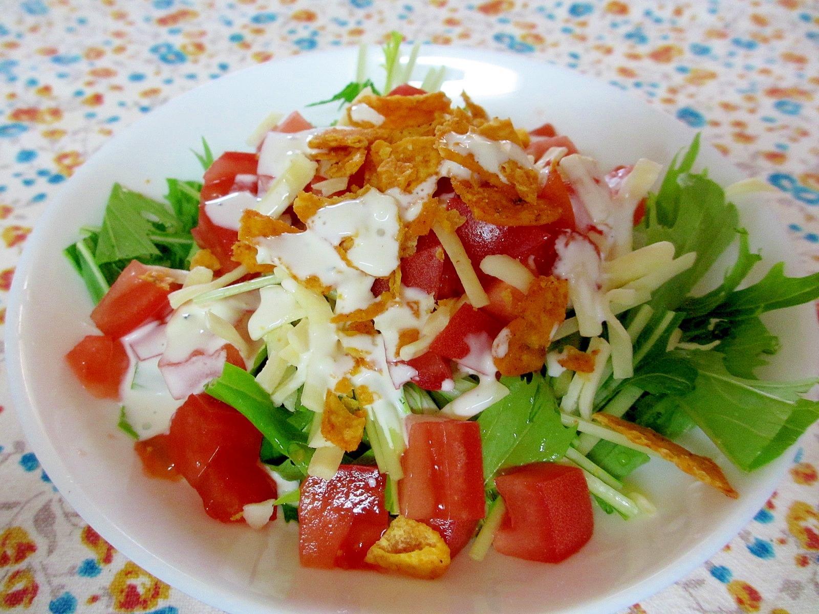水菜、トマト、チーズのドリトスサラダ