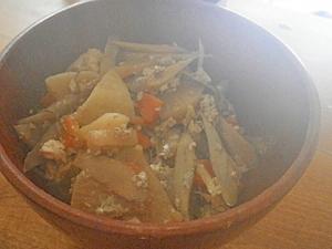 根菜と豆腐の炒め物