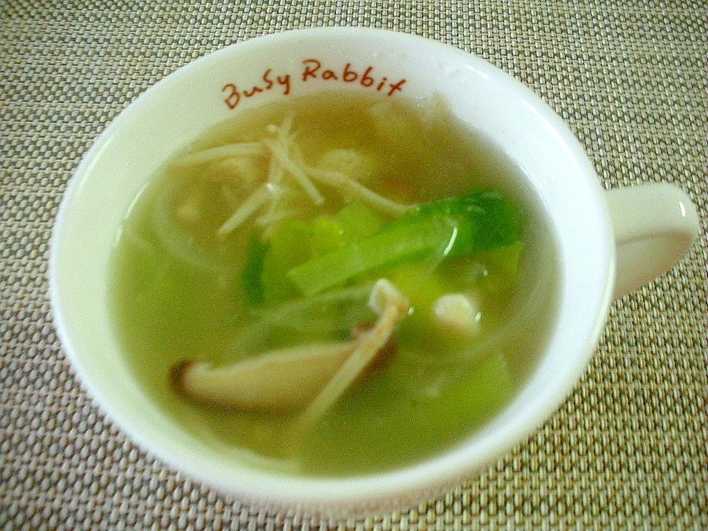 お夜食に!しいたけとエノキタケと小松菜のスープ♪