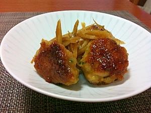 鶏つくねとごぼうの甘辛煮