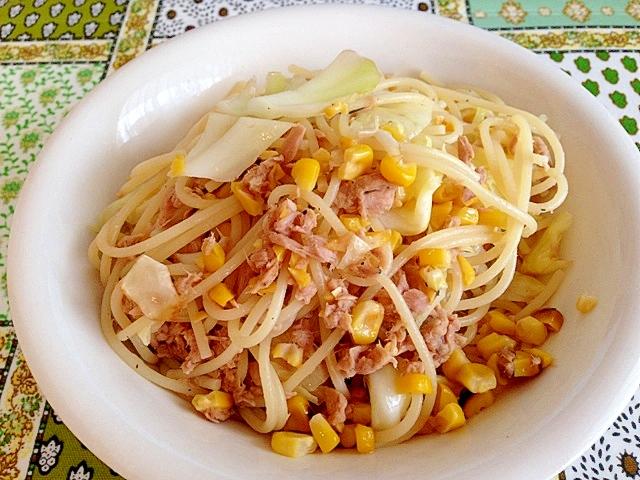 トウモロコシとツナのスパゲッティー