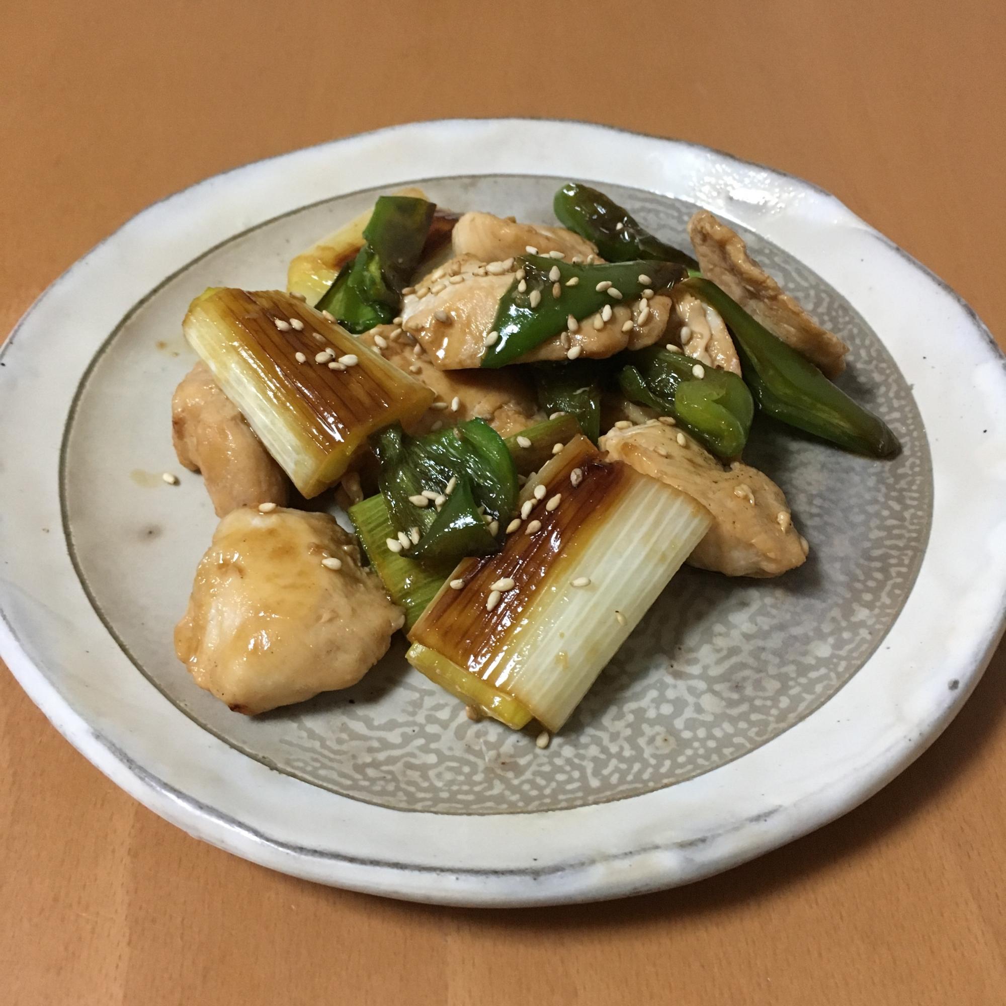 鶏胸肉白ねぎピーマンのポン酢炒め♪ レシピ・作り方
