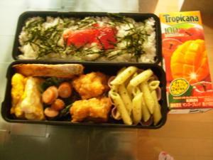 お弁当レシピ♪いくら丼&ジェノベーゼパスタ