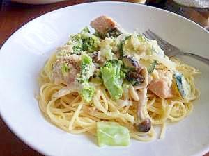 野菜たっぷり鮭のクリームスパゲティ
