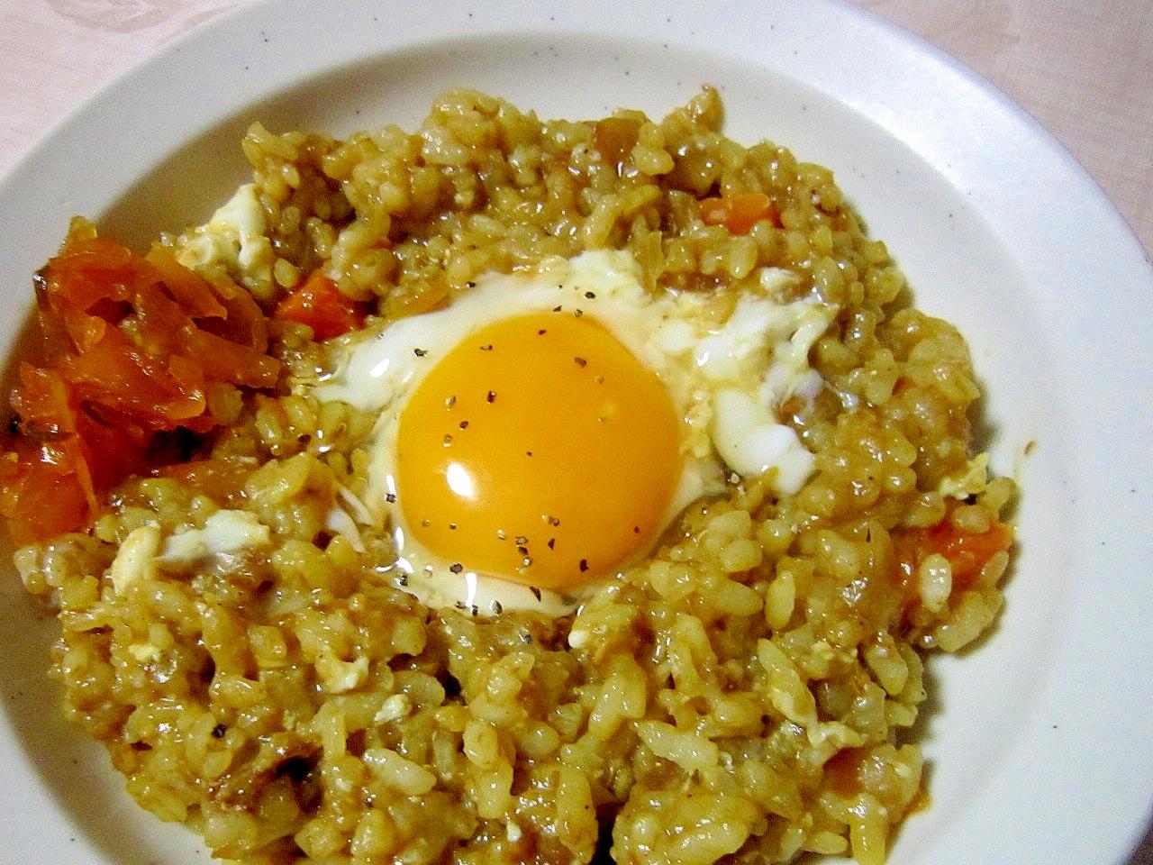 リメイク料理~カレーで卵リゾット