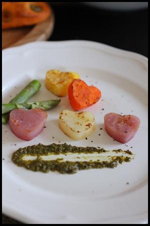 バレンタインにハートのカラフルグリル野菜