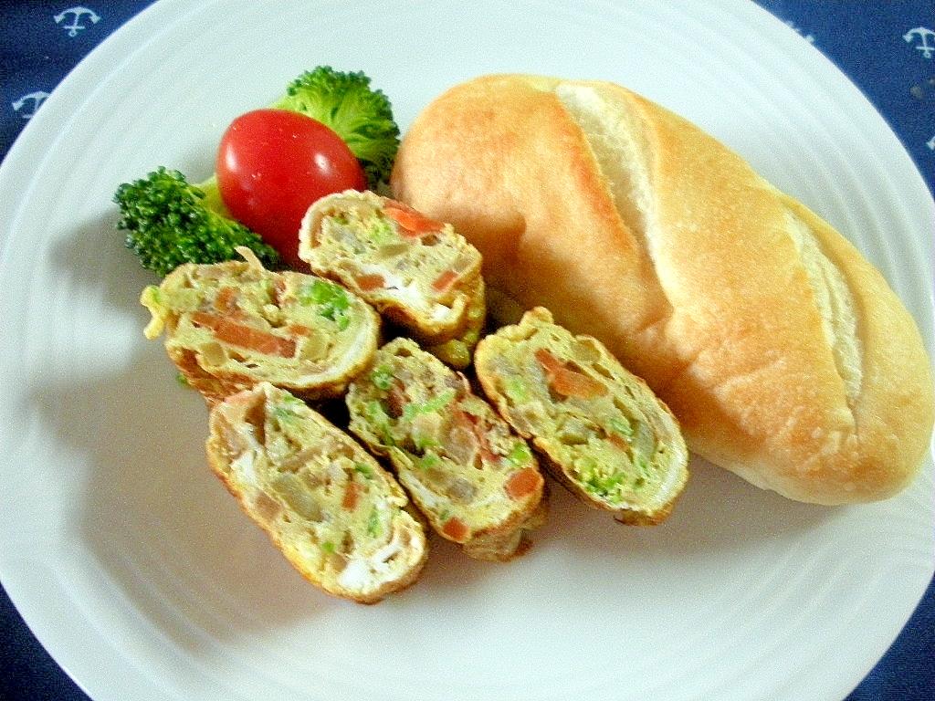 きんぴらとブロッコリー入り卵焼き&プチパンプレート