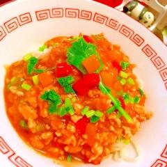 三色パプリカと鶏ささみの韓国風汁なし担々麺