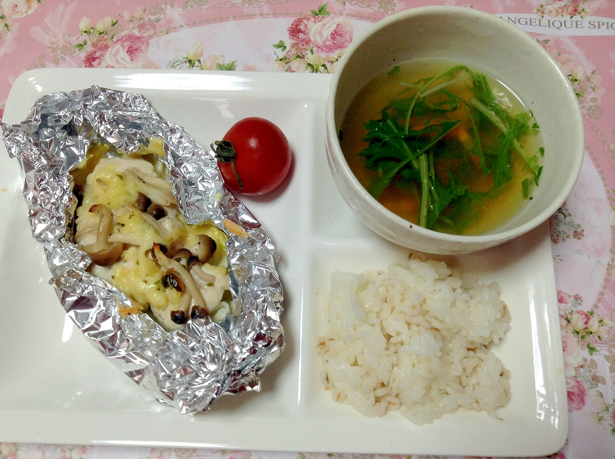 ささみチーズ蒸しき&水菜と人参スーププレート