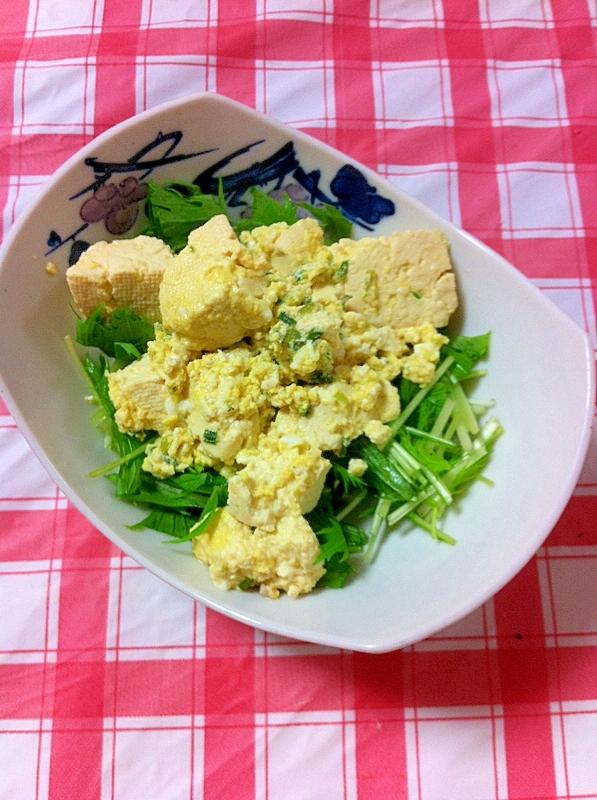ヘルシー豆腐の卵炒めサラダ