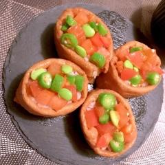 コロコロ夏野菜のカラフルサラダお稲荷さん