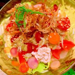 じゃこと牛蒡ともち麦の柚子胡椒お豆腐サラダ