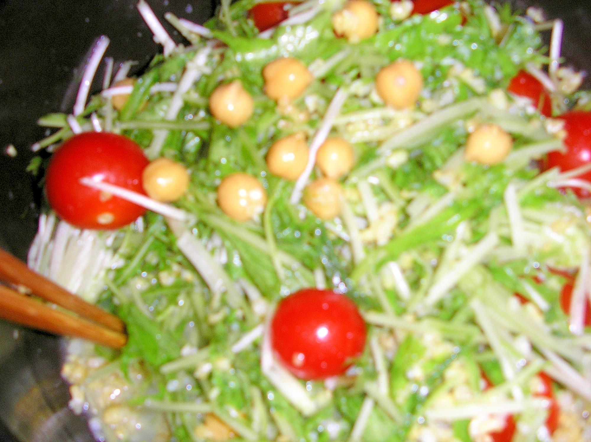 水菜とヒヨコ豆のサラダ