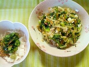 野沢菜昆布のネバネバ丼